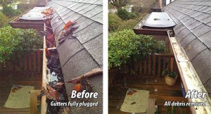 Gutter cleaning services - before and after