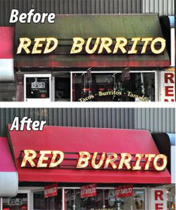 before and after - red burrito awnings cleaned