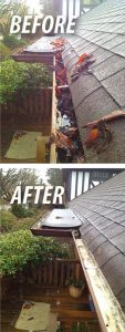before and after gutters are cleaned
