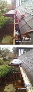 before and after residential gutter cleaning