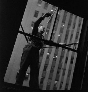 window cleaning black and white photo