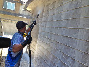 photo of exterior cleaning in action