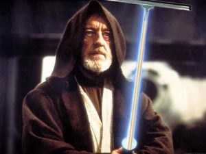 a photo of obi wan kenobi, jedi window washer