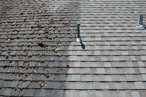 a photo of roof washing - before and after