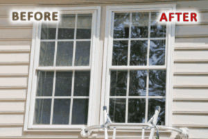 A before and after photo of window cleaning